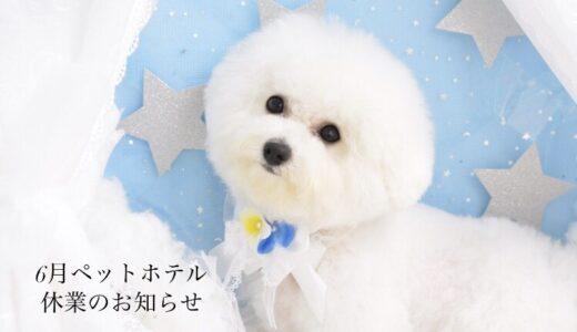 ~6月ペットホテル休業のお知らせ~